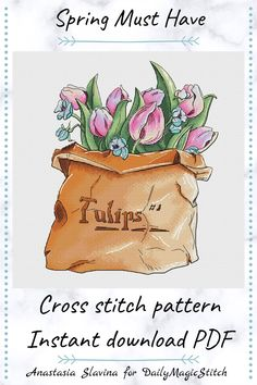 Beautiful pink tulips cross stitch pattern is perfect for decorating your home or a gift for a flower lover. Designed by Anastasia Slavina for DailyMagicStitch. tulip cross stitch,	spring flower design,	embroidery flower,	DIY for flower lover, cross stitch pattern,	adorable stitch,	home decor flowers,	floral cross stitch,	pink flower x-stitch,	tulip PDF pattern,	real blossom chart,	nature lover gift Pink Tulips, Pink Flowers, Spring Design, Flower Diy, Gifts For Nature Lovers, Drops Design, Digital Pattern, Cross Stitch Designs, Cross Stitch Embroidery