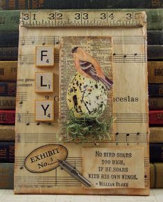 Encaustic Bees Wax Mixed Media Collage William Blake Quote Bird and Egg via Etsy. Paper Collage Art, Paper Art, Paper Crafts, Altered Canvas, Altered Art, Altered Books, Mixed Media Collage, Mixed Media Canvas, Bird Nest Craft