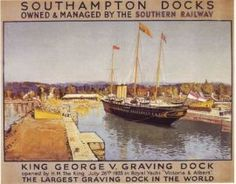 1933 Southern Railway Southampton - King George V Dock - the largest graving dock in the world (the |Rroyal yacht 'Victoria & Albert'