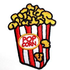 CUTE Cartoon White Popcorn Movie Snack Food Kids Gift T-Shirt Cap Iron on Patch