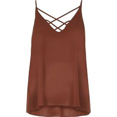 River Island Brown strappy cami ($18) via Polyvore featuring intimates, camis, brown, tops, v neck cami, strappy cami, brown cami, v-neck camisoles and river island