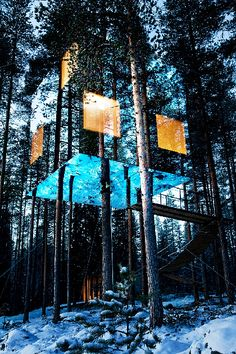 Mirror-walled Treehotel, set in the pristine forests of northern Sweden