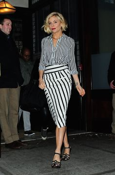 Just when you thought stripes on stripes couldn't work outside of the weekend...   - MarieClaire.com