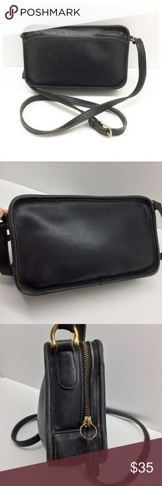 """Vintage {Coach} Multizip Crossbody Bag Authentic, black leather, brass hardware, zip top with compartments, about 10.5"""" x 6 x 2.5, strap drop is about 24"""" on longest hole, very distressed with many scuffs and definite signs of wear - has lived a long and dangerous life and is ready for more action 😋 Coach Bags Crossbody Bags"""