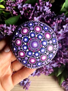Log in to your Etsy account. Round Rock, Mandala Rocks, Dot Painting, Painted Rocks, Create Yourself, Meditation, Friday, Stone, Purple