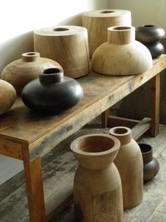 Wooden vases, etc. on a table -- Josh Vogel Rustic Wall Art, Wood Art, Decorative Accessories, Home Accessories, Taupe Walls, Wood Lathe, Wooden Bowls, Floor Design, Wood Turning