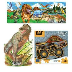 Melissa & Doug Dinosaurs Extra Large 48 pc Floor Puzzle with T-REX 48 pc Floor Puzzle and CAT Construction Vehicle Puzzle Bundle by Melissa and Doug. $27.89. The detailed dinosaurs on this colossal floor puzzle may be long extinct; but these 48 thick; laminated cardboard puzzle pieces will surely last for ages! It's an educational and entertaining challenge for any child (or parent!) to build the puzzle and name the dinosaurs.  This Set Includes  * Melissa and ...