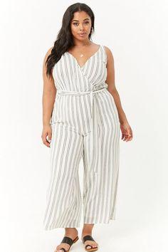 bfa32c5f0e2 Plus Size Striped Surplice Jumpsuit