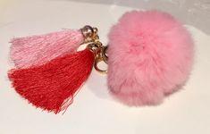 Tassel PomPom Key Ring, Tassel PomPom Key Chain, Tassel PomPom Bag Charm, Pink Tassel PomPom Key Ring, Pink Tassel Bag Charm, Pink PomPom by PomPomsPrettyThings on Etsy