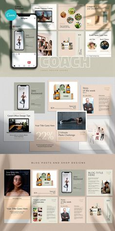 COACH - Canva Instagram Template  Instagram Canva Template for coaches, teachers, food bloggers, podcasters, personal trainers, nutrition experts and entrepreneurs. Featuring eye-candy minimalistic template designs to get your audience and sell your digital offers and courses. Coach Instagram, Being Used Quotes, Branding Template, Cosmetic Shop, Checklist Template, Different Fonts, Brand Building, Coaches, Visual Identity