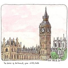 https://flic.kr/p/4UsDXX | our house | sat on my little sketching stool on the south bank, performers and italian tourists and half-term kids all around me, the clocktower of the houses of parliament (not big ben, that's the bell inside, for those troglodytic few who don't already know), with westminster abbey (not an abbey but a royal peculiar) behind. copic pen and watercolour.