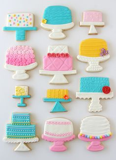 Cake Stand Decorated Cookies - so pretty! #cookies #birthday #cakes