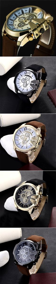 Don't you agree, a good watch could attracted more attention than any other item in your wardrobe?A charming guy always wearing a nice wristwatch, a wristwatch Men's Watches, Luxury Watches, Cool Watches, Watches For Men Unique, Weird, Deck, Military, Leather, Accessories