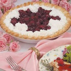 """Fresh Glazed Raspberry Pie Recipe- Recipes In Richmond, British Columbia, Ruth Andersson piles fresh berries in a pastry crust, then dresses them up with an easy glaze and whipped cream. """"It's the best fresh fruit pie I have ever tasted,"""" she assures. Summer Desserts, Just Desserts, Delicious Desserts, Pecan Pie Cake, Pecan Pies, Pie Recipes, Dessert Recipes, Recipe Mix, Filling Recipe"""