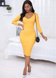 Elegant Dresses, Sexy Dresses, Nice Dresses, Summer Dresses, Party Dress Sale, Latest Dress For Women, Long Sleeve Sweater Dress, Yellow Fashion, Online Dress Shopping