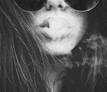 Inspiring image black and white, boho, cigarette, indie, lips, long hair, smoke, smoking, hippie sunglasses #976336 by awesomeguy - Resolution 500x667px - Find the image to your taste