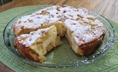 Russian Apple Pie - 4 apples, sugar, flour, eggs. This is my kind of recipe!