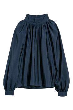Balloon-sleeved blouse - Dark blue - Ladies   H&M GB