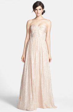 ERIN erin fetherston 'Coralie' Foiled Silk Chiffon Gown