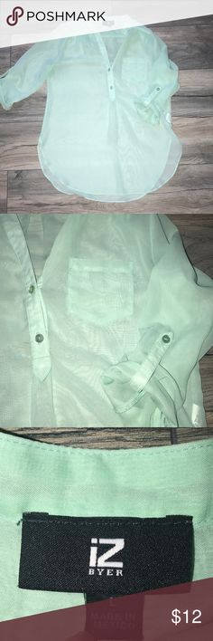 Seafoam Green Blouse Size L. A little more light green than the picture. A little see-through. 100% polyester Iz Byer Tops Blouses