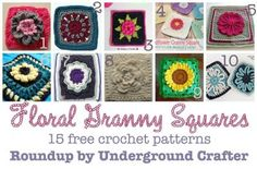 15 free crochet patterns for floral granny squares roundup on Underground Crafter