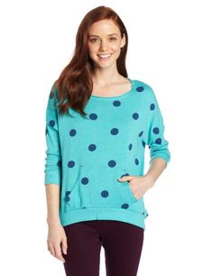 Roxy Juniors Love Sometimes Fleece, Baltic Blue Dot Print, Medium >>> Click image to review more details.