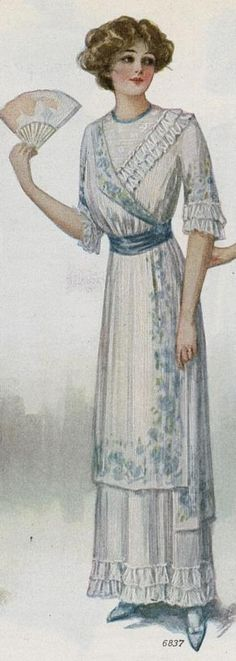 "1912, ""enchanting dress inspired by peasant blouses"""