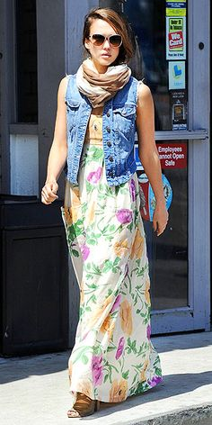 denim vest over maxi dress