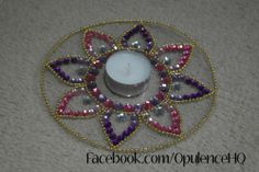Kundan rangoli tealight candle decoration handmade by Opulence. Also great for wedding decorations.  £5.00 OpulenceHQ@outlook.com