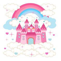 princess castle decal wall art baby girl nursery decor mural rainbow stickers decampstudios