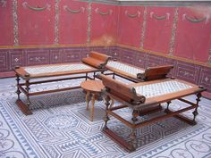This photo shows the way the KLINE (same name as the Greeks) was arranged possibly with a table of the same level for eating.