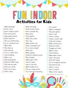 Fun & Easy Indoor Activities for Kids – Arthritis Nanny Activities, Babysitting Activities, Indoor Activities For Kids, Summer Activities, Toddler Activities, Learning Activities, Preschool Activities, English Activities For Kids, Fun Worksheets For Kids