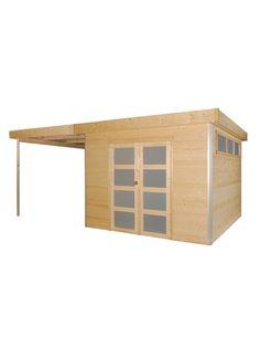 Cabane Lounge 295x295cm+ ext 285 toit tôle - MakroShop Lounge, Ramen, Facade, Garage Doors, Shed, Loft, Outdoor Structures, Outdoor Decor, Home Decor