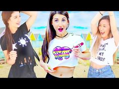 DIY Clothes For Summer! Easy No Sew Tumblr T-shirts for Teenagers! - YouTube