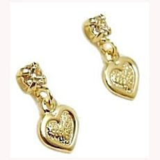 Baby Love!! Baby or Toddler's 18K Skillus Gold Heart and CZ Stud Earrings with Safety Backs $11.59