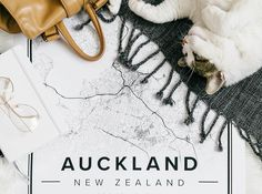 Map poster of Auckland, New Zealand. Print size 50 x 70 cm. Custom black and white map posters online. Mapiful.com.