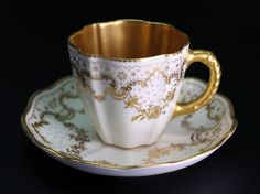 Gorgeous Antique Royal Crown Derby Gold on White Demitasse Cup and Saucer #2674 #RoyalCrownDerby