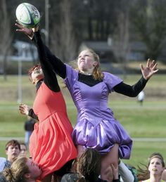 'The poofier, the better': York College women's rugby plays in prom dresses for charity