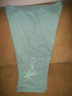 20w Bandolinoblu sea foam green stretch cargo CAPRIi w/ embroidery w40-46 L22
