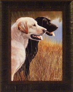 Hunting Companions by Kevin Daniel 1721 Dogs Labrador Retriever Black Yellow Labs Framed Art Wall Décor Picture
