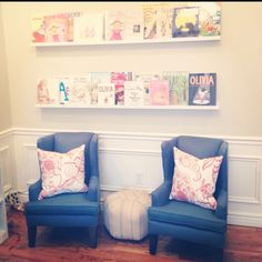 Nola's Playroom:  Comfy chair, ledges for books, floor lamp, side table