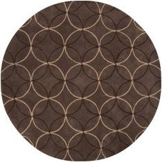 Hand-tufted Contemporary Brown Retro Chic Brown Geometric Abstract Rug (8' Round)   Overstock.com Shopping - Great Deals on Round/Oval/Square