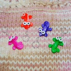 Colorful Gecko knitting or crochet stitch markers  by TheClaySheep, $14.00