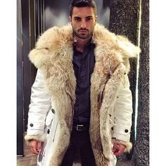 """leatherswede: """" there is a God, when you see a sight this ravishing ❤ @emilmontenegro in his @dsquared2 parka. """""""