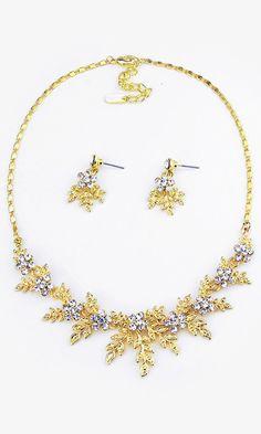 Crystal Laurel Necklace in Gold