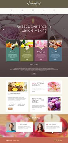 Template 49212 - Handmade Candles Responsive Bootstrap Website Template with Cool Add-ons - Sliders, Portfolios, Social Media