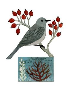 A grey bird with red berries sounds cold but is quite nice.  Gennine and I both love birds.