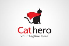 Cat Hero Logo Design by gunaonedesign on @creativemarket
