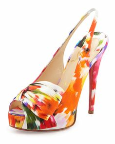 f2d8481f11a Christian Louboutin Vendome Floral-Print Red Sole Slingback