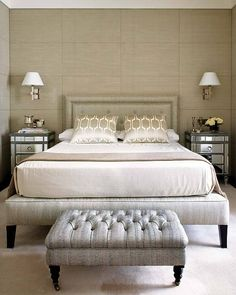I like the fabric wrapped back wall panels  Interiors: LuxeWrapping... - Modern Glamour Blog - Sukio